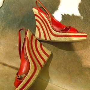 Alexander McQueen Red Espadrille Wedges
